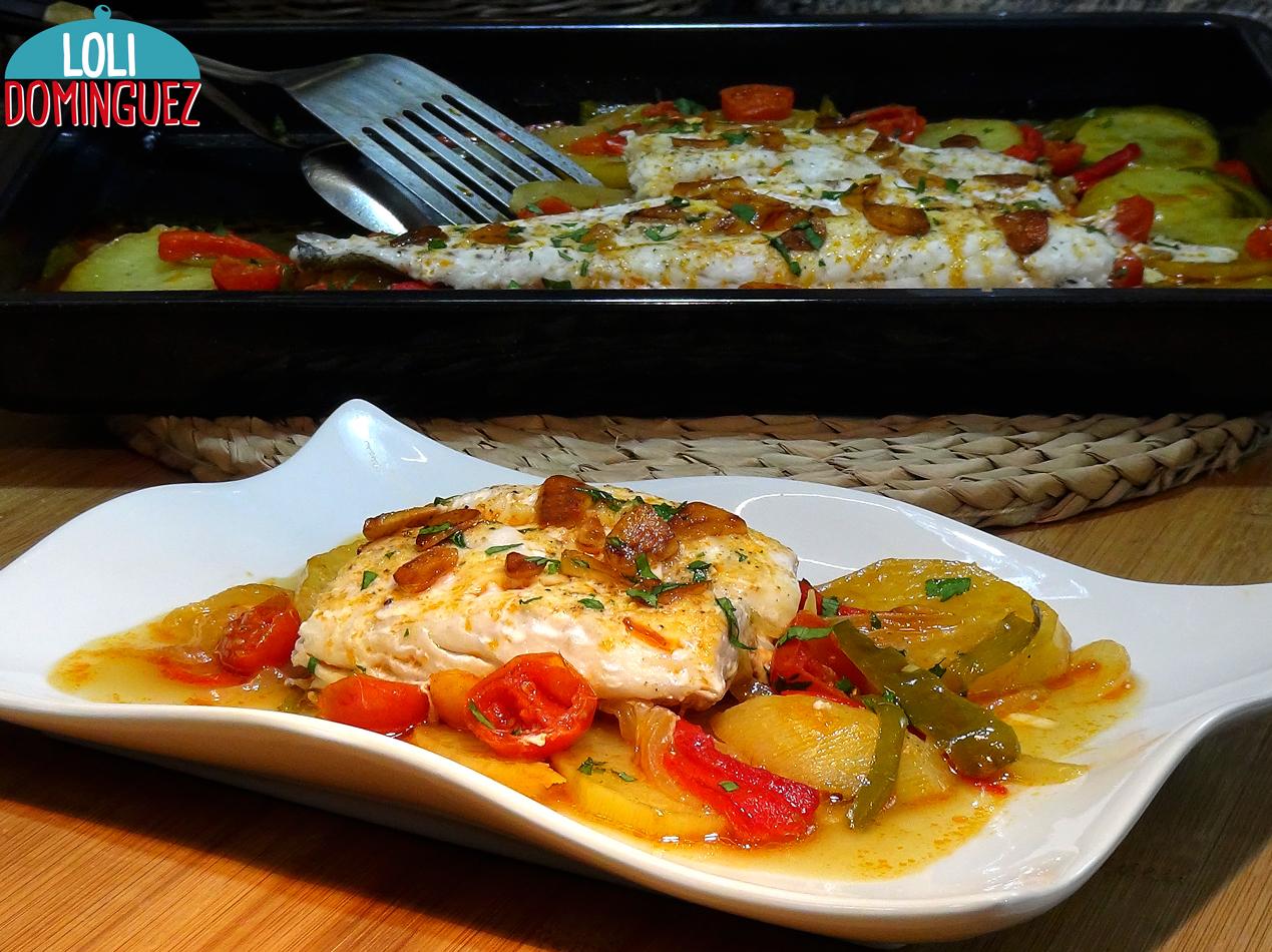 Merluza Al Horno Con Patatas Y Verduras Muy Jugosa Y Deliciosa